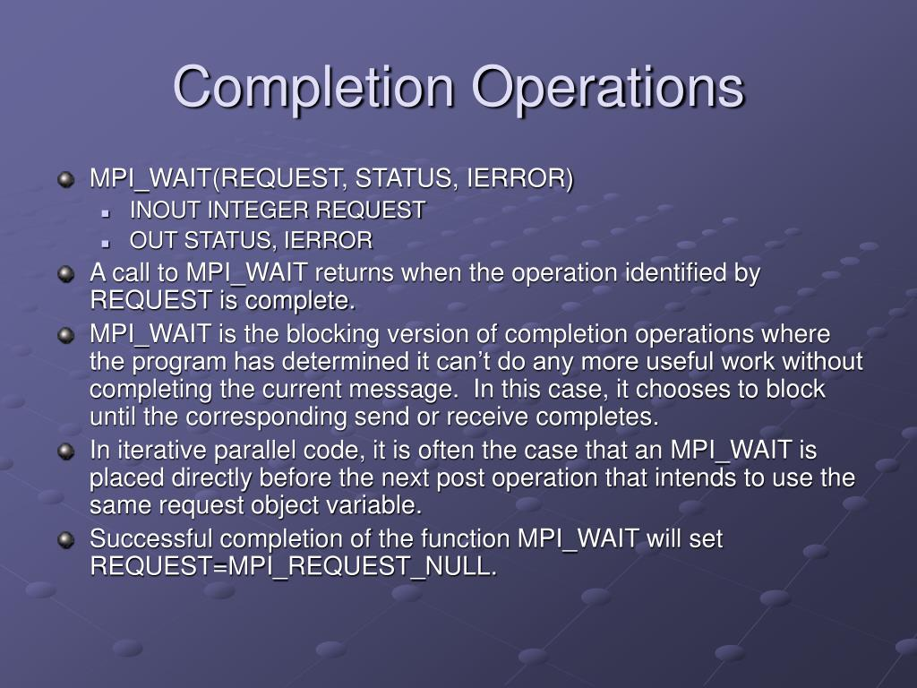 Completion Operations