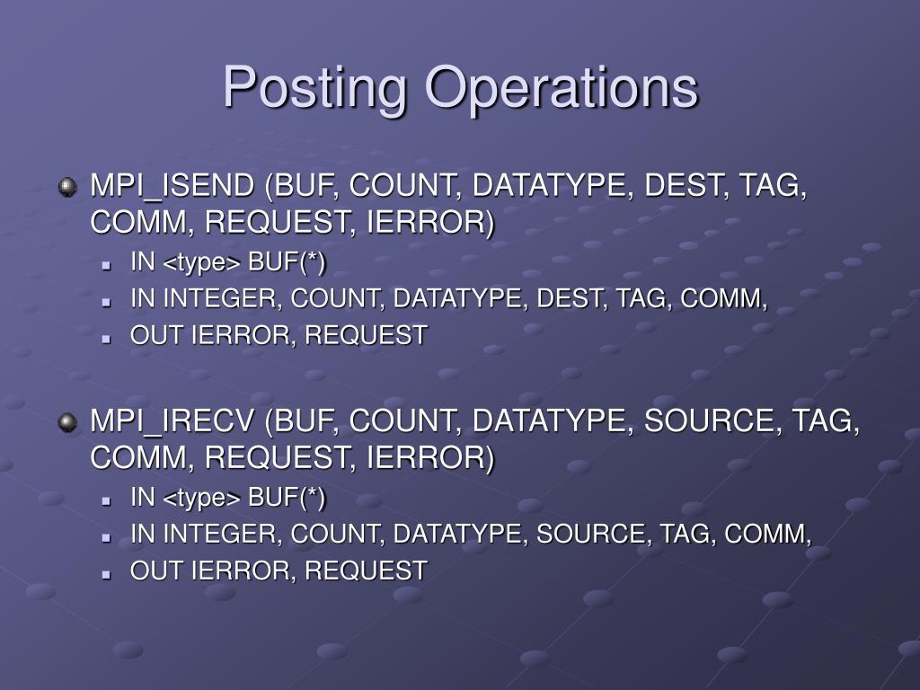 Posting Operations