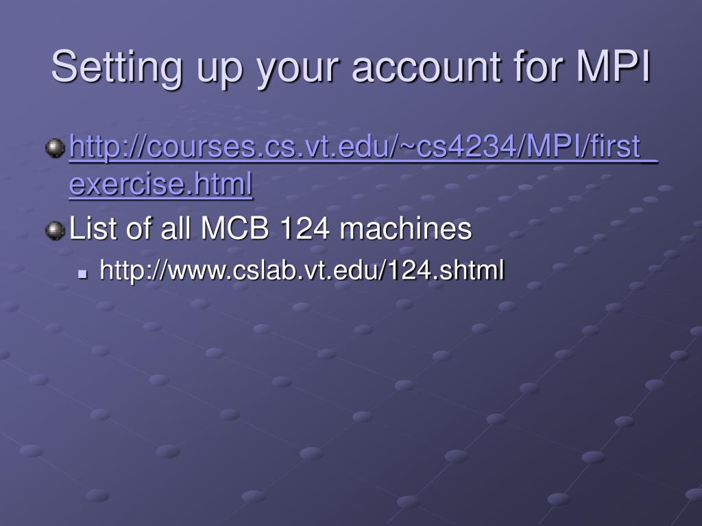 Setting up your account for MPI