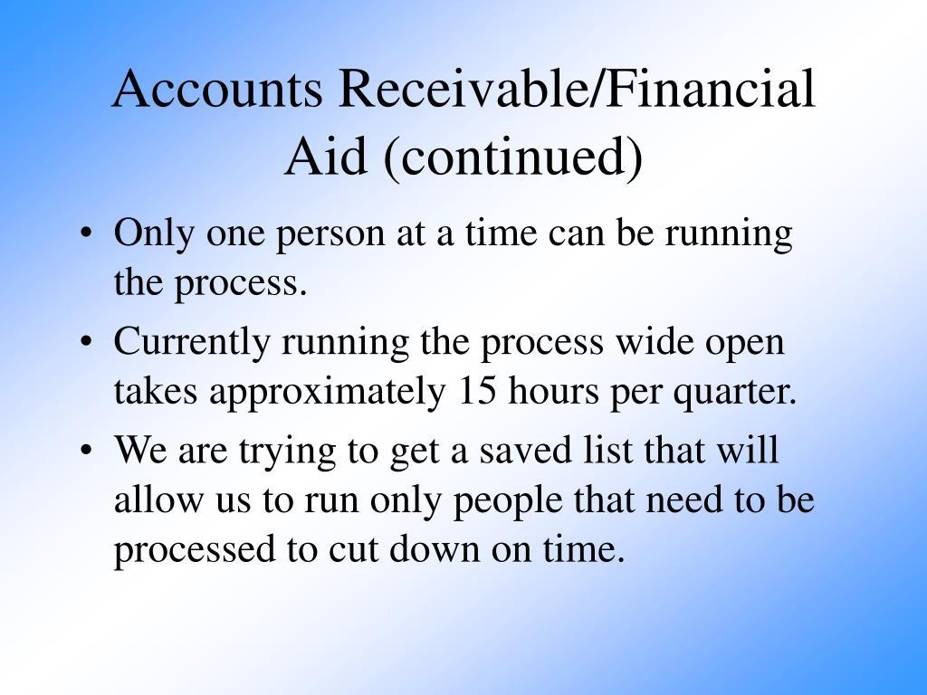 Accounts Receivable/Financial Aid (continued)