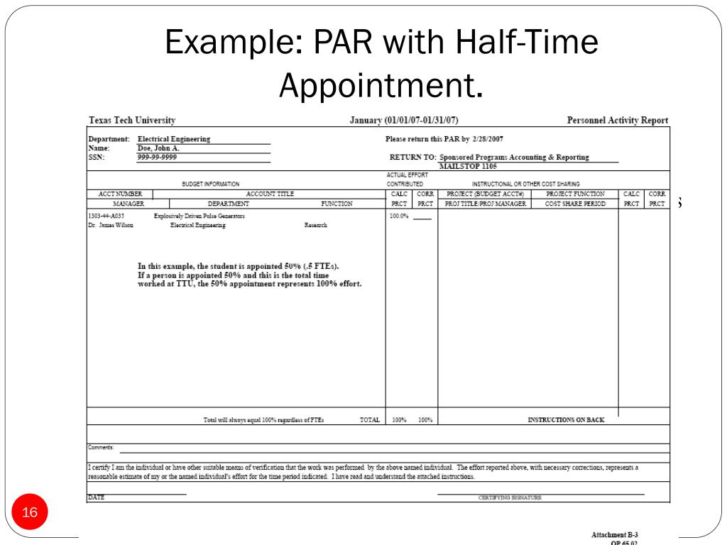 Example: PAR with Half-Time Appointment.