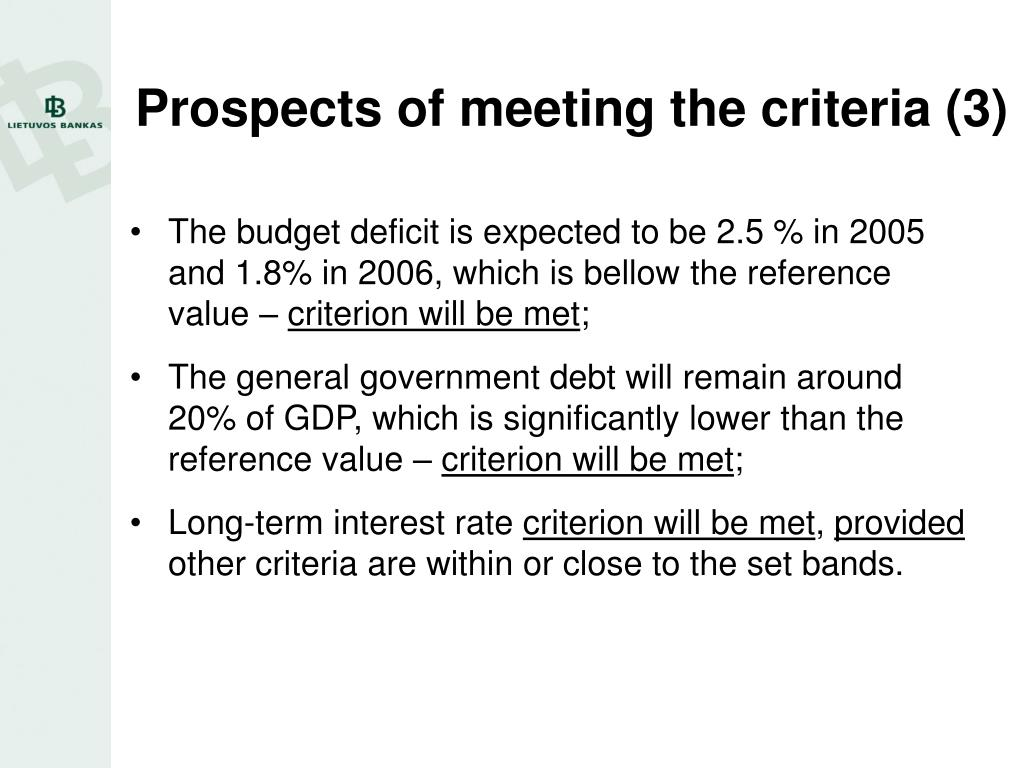 Prospects of meeting the criteria (3)