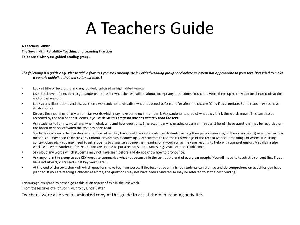 A Teachers Guide