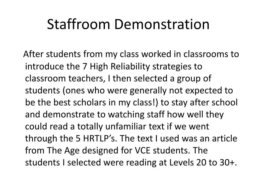 Staffroom Demonstration