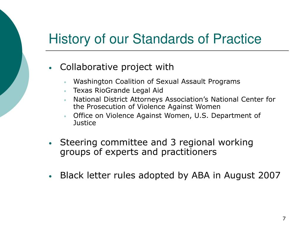 History of our Standards of Practice