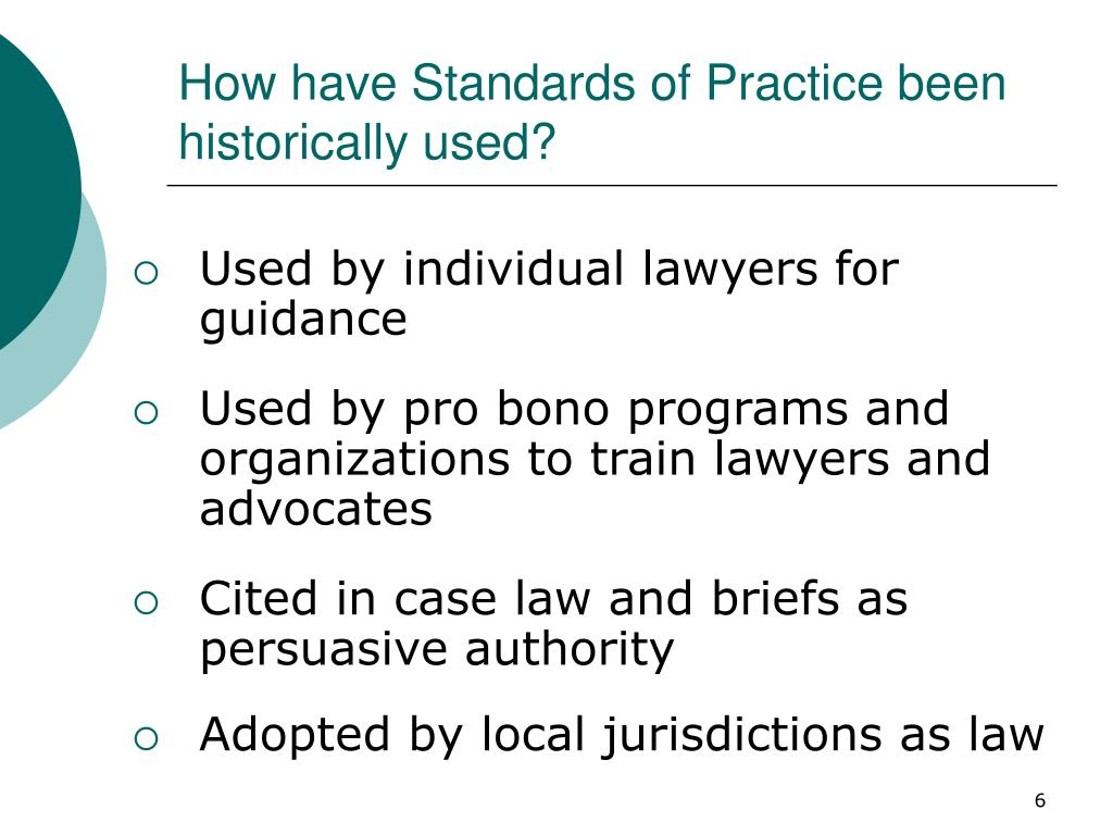 How have Standards of Practice been historically used?