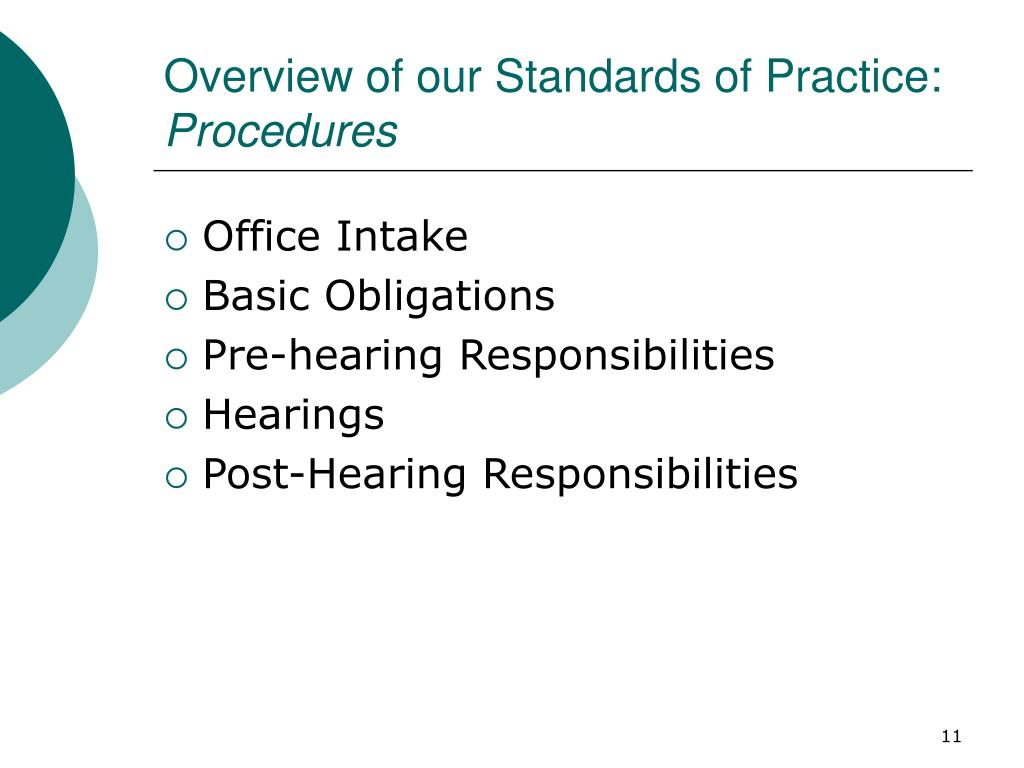 Overview of our Standards of Practice: