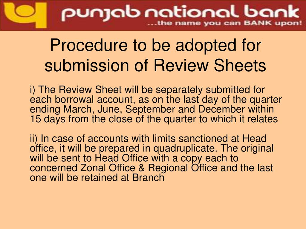 Procedure to be adopted for submission of Review Sheets