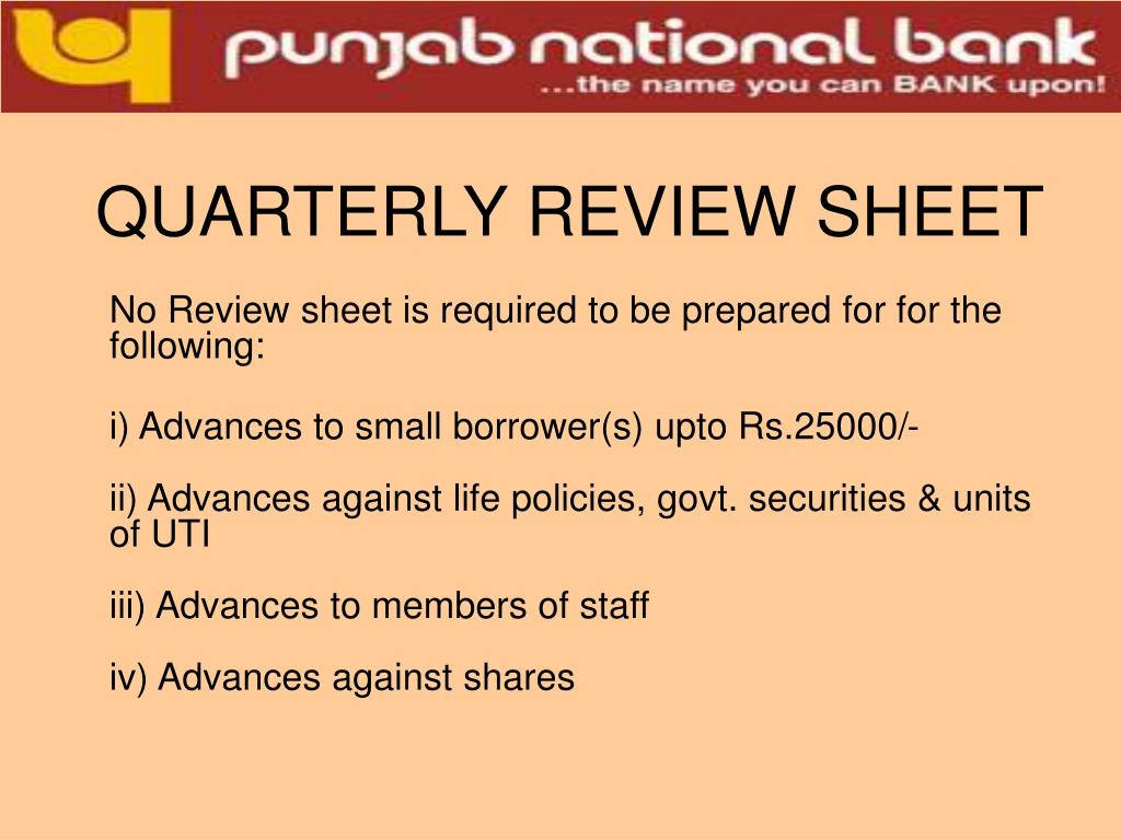QUARTERLY REVIEW SHEET