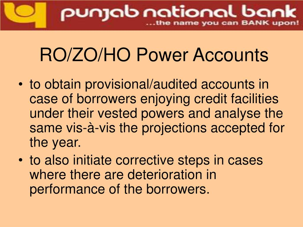 RO/ZO/HO Power Accounts