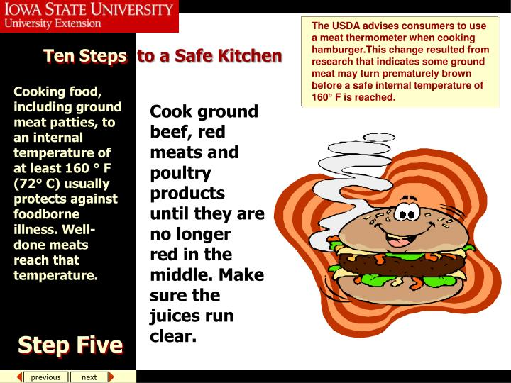 The USDA advises consumers to use a meat thermometer when cooking hamburger.This change resulted from research that indicates some ground meat may turn prematurely brown before a safe internal temperature of 160° F is reached.