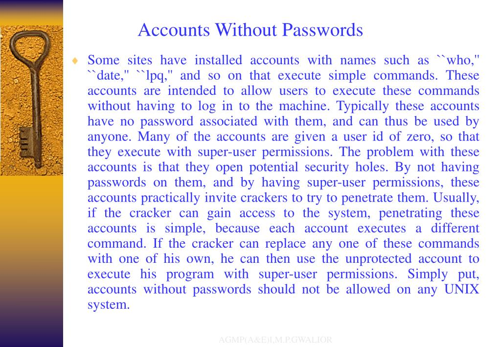 Accounts Without Passwords