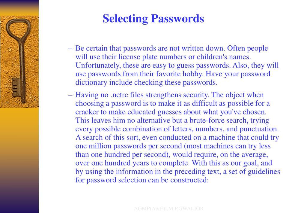 Selecting Passwords