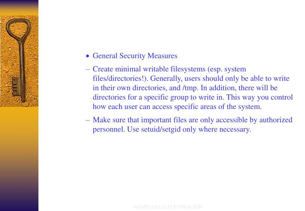 General Security Measures