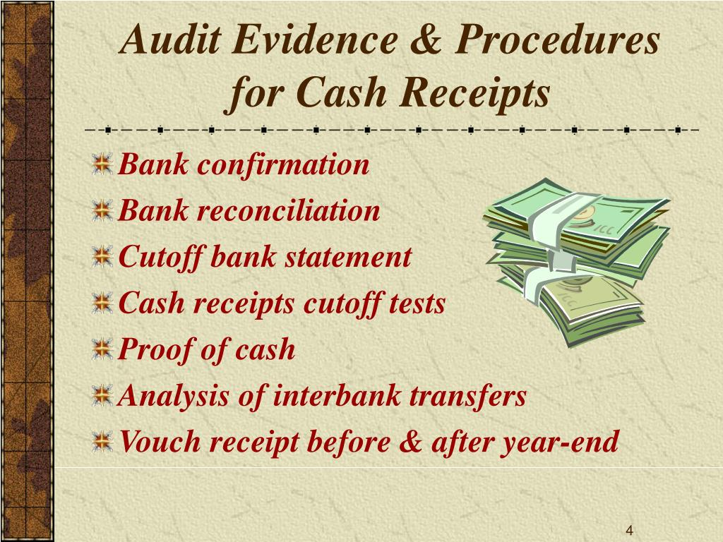 Audit Evidence & Procedures for Cash Receipts