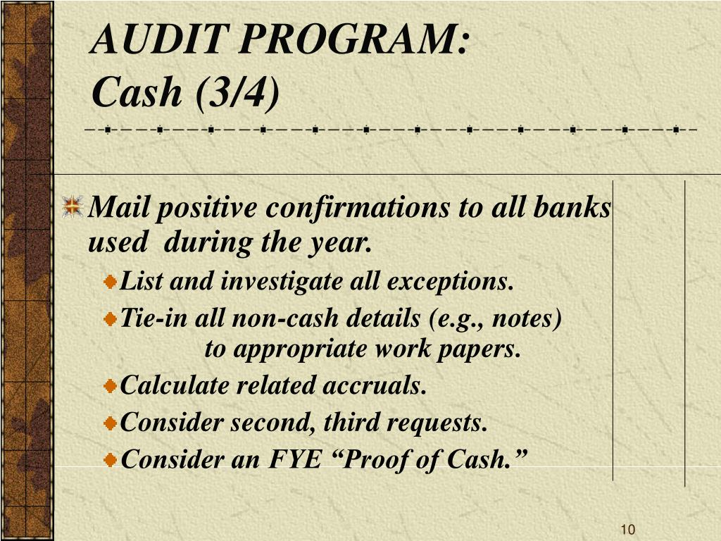 AUDIT PROGRAM: