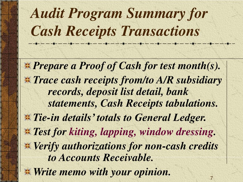 Audit Program Summary for Cash Receipts Transactions