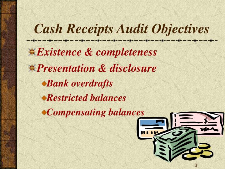 Cash receipts audit objectives