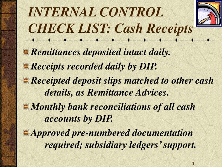 Internal control check list cash receipts
