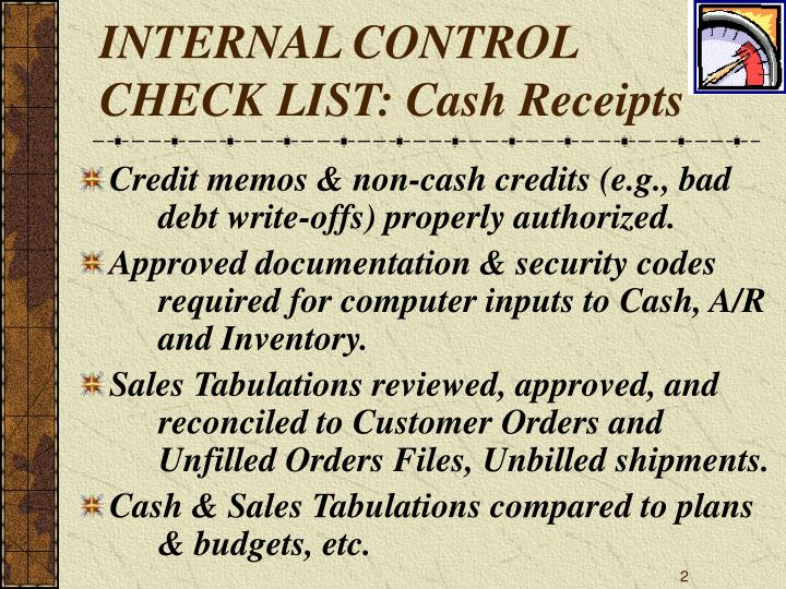Internal control check list cash receipts2