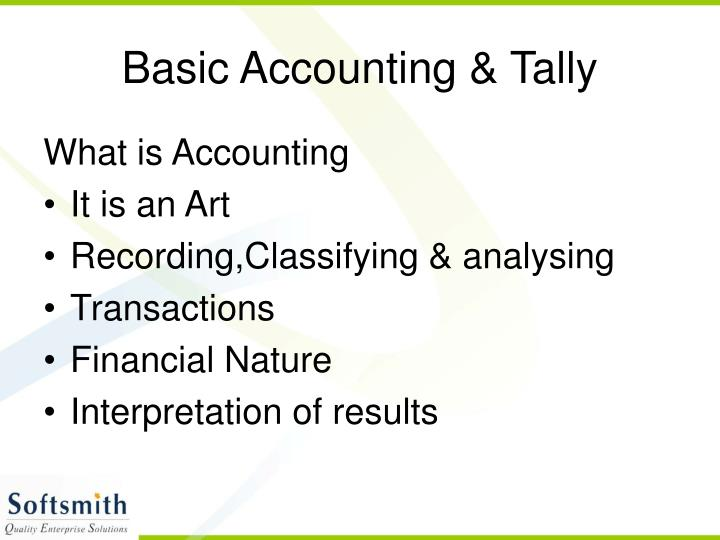 Basic accounting tally