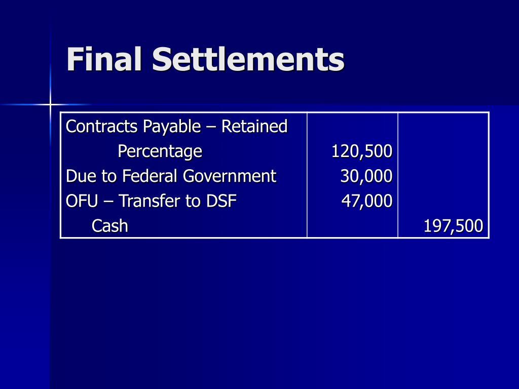 Final Settlements