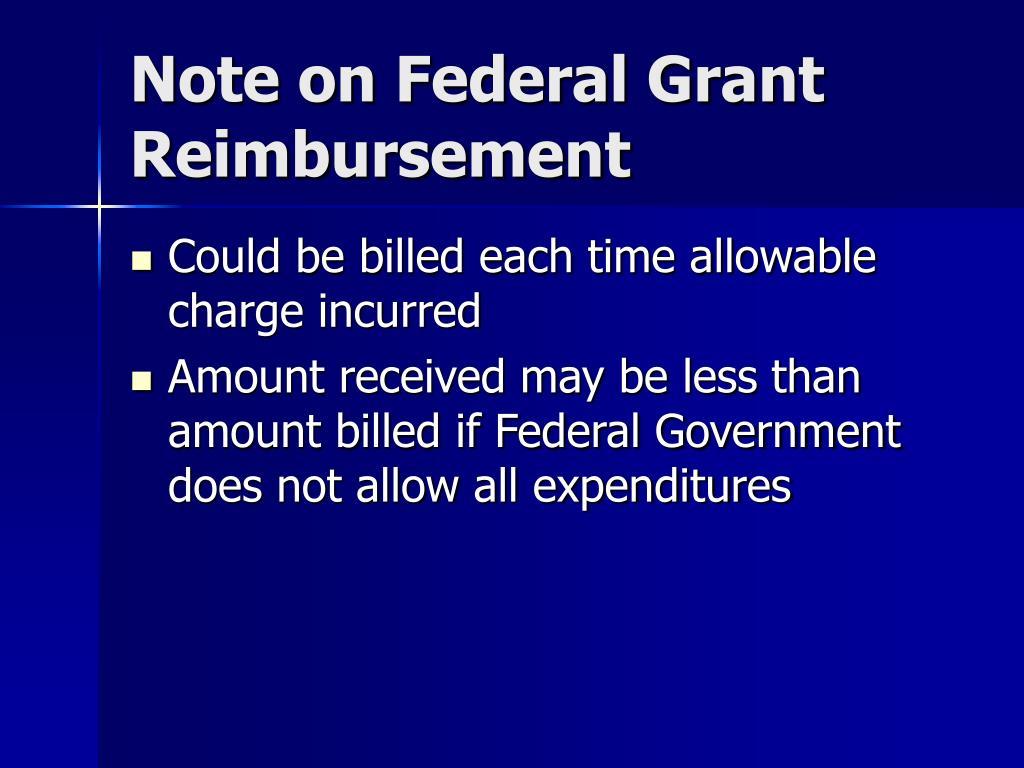 Note on Federal Grant Reimbursement