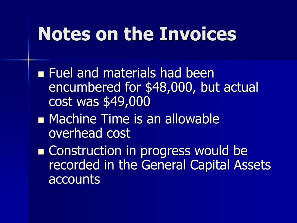 Notes on the Invoices