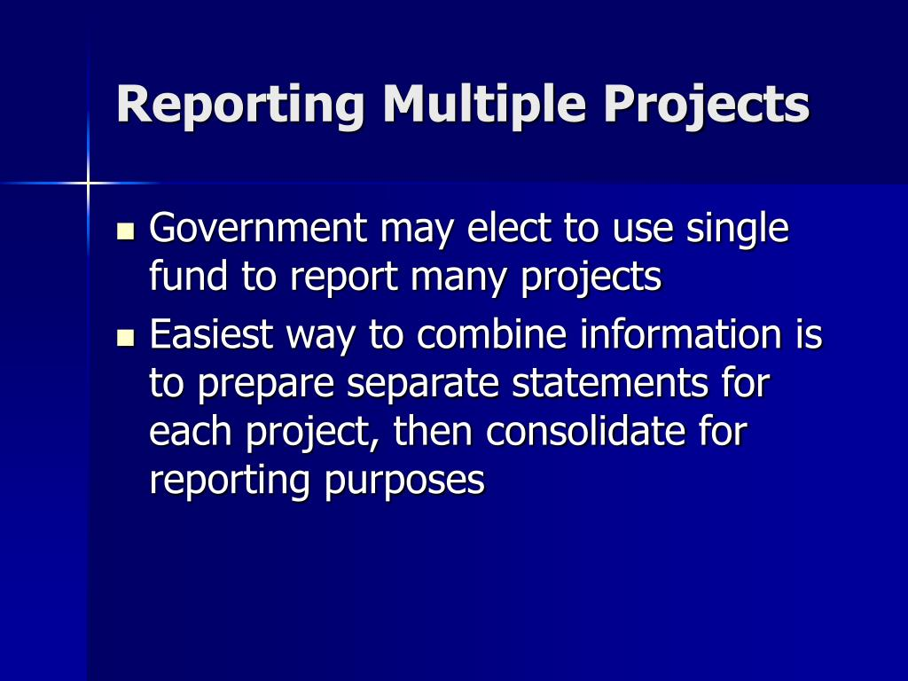 Reporting Multiple Projects