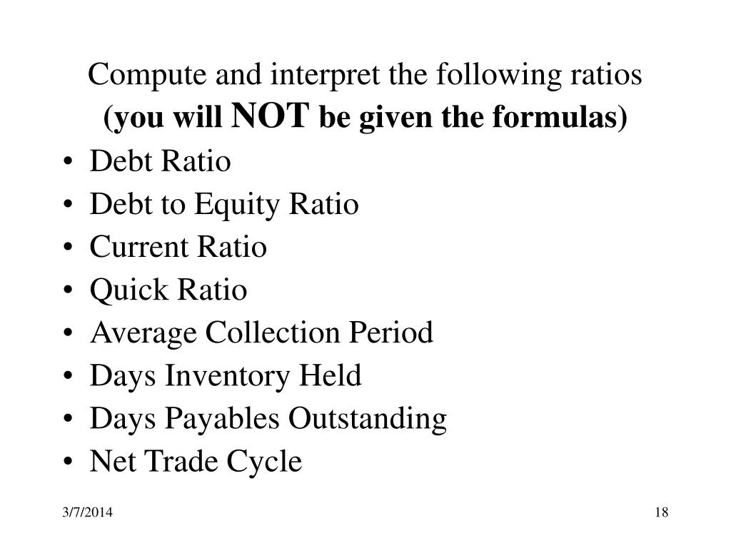 Compute and interpret the following ratios