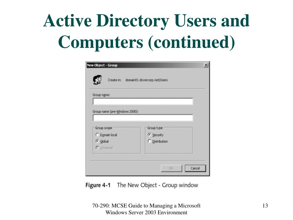 Active Directory Users and Computers (continued)