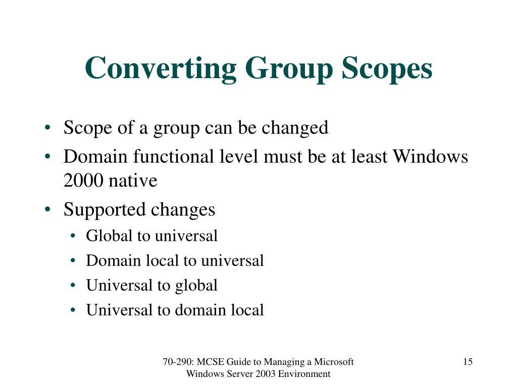 Converting Group Scopes