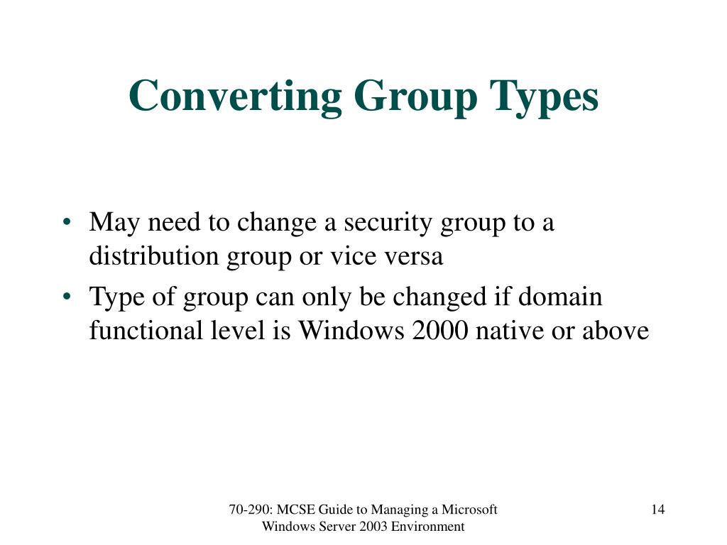 Converting Group Types