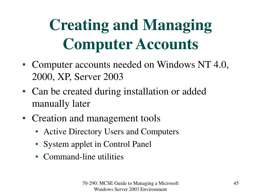 Creating and Managing Computer Accounts
