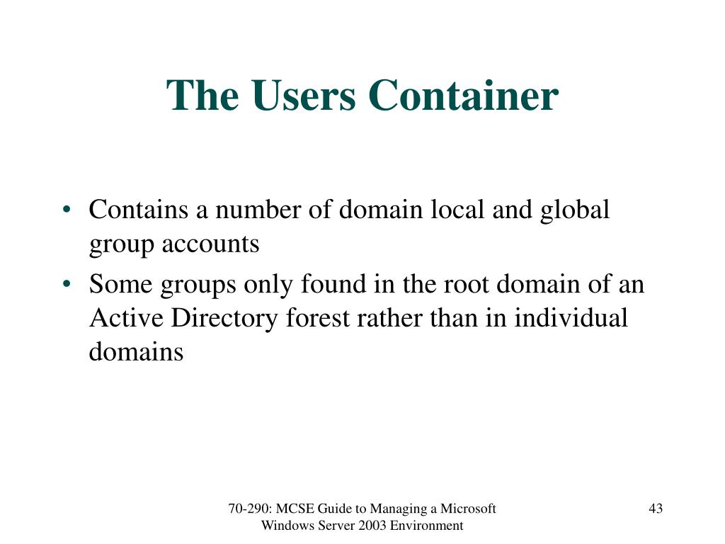 The Users Container
