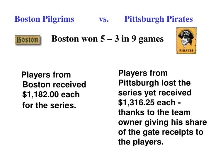 Boston Pilgrims vs.   Pittsburgh Pirates