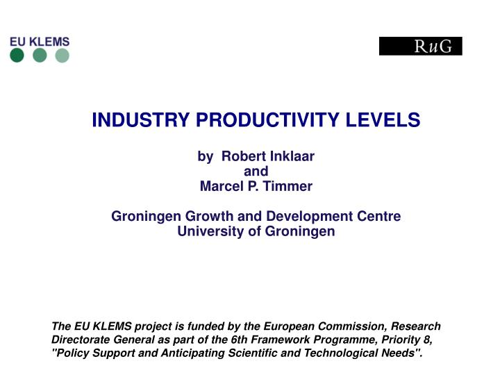 INDUSTRY PRODUCTIVITY LEVELS