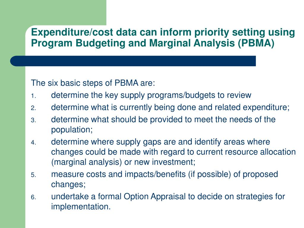 Expenditure/cost data can inform priority setting using Program Budgeting and Marginal Analysis (PBMA)