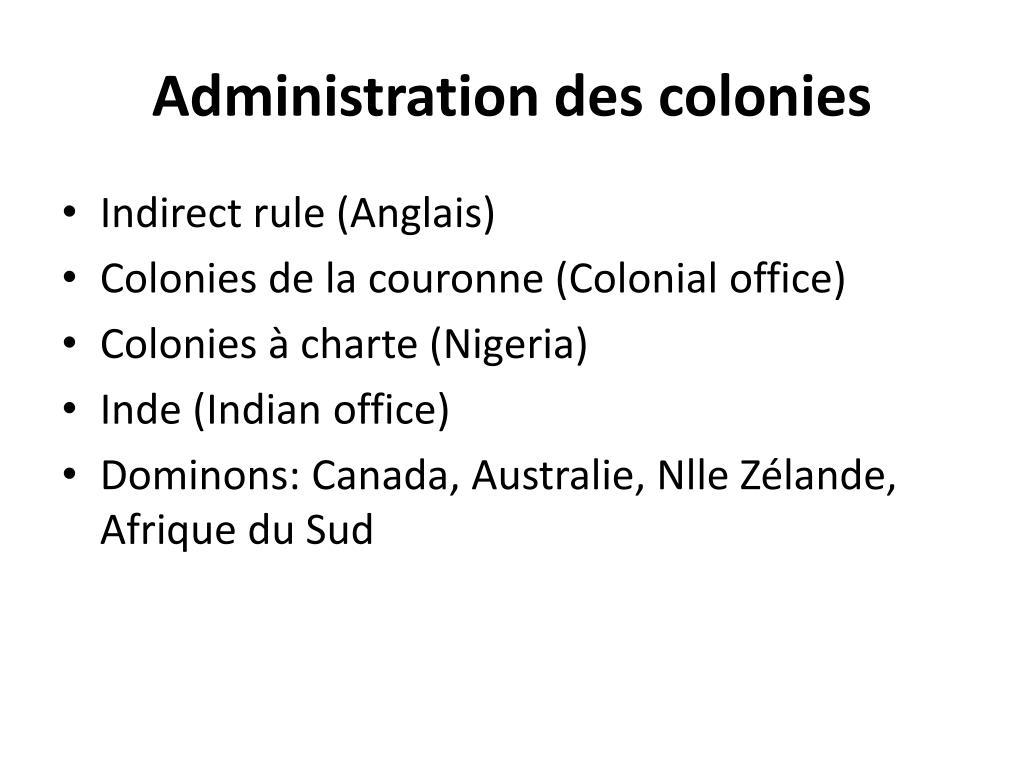 Administration des colonies