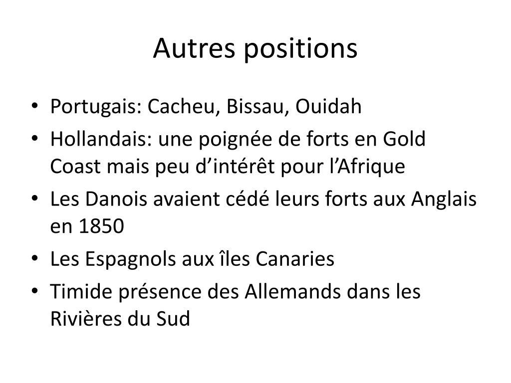 Autres positions