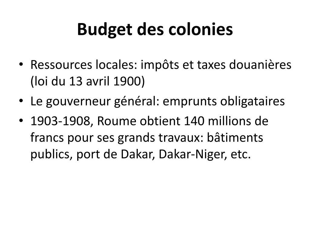 Budget des colonies