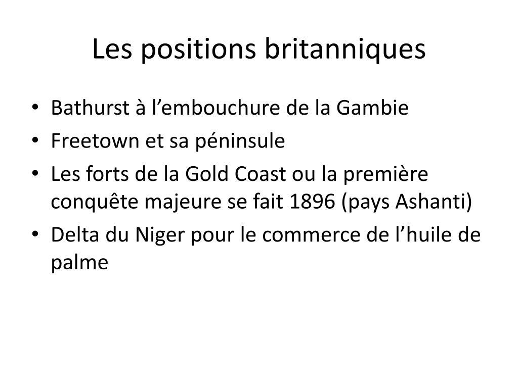 Les positions britanniques