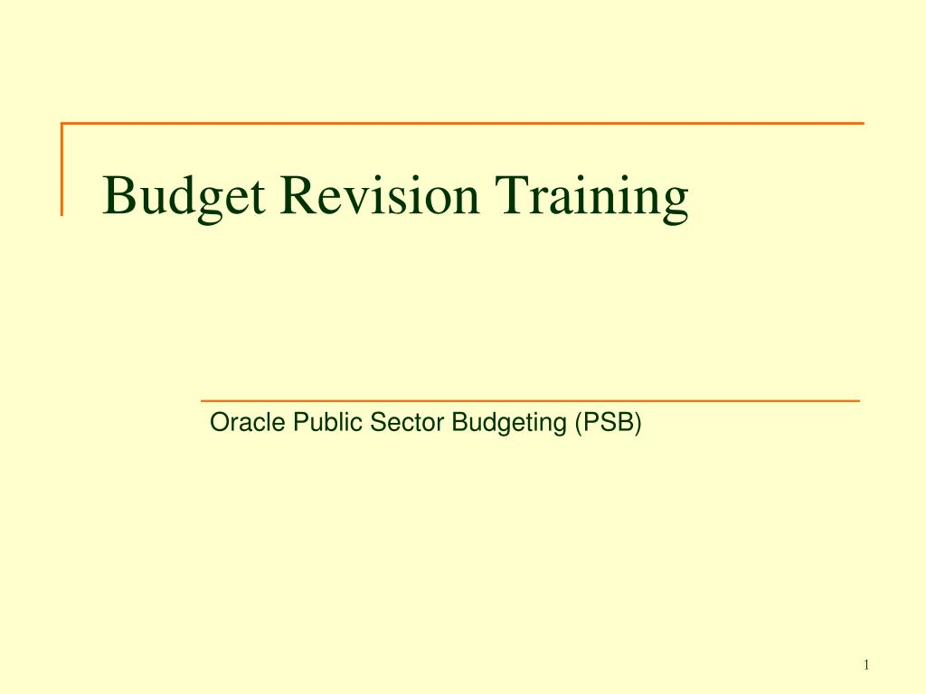 Budget Revision Training