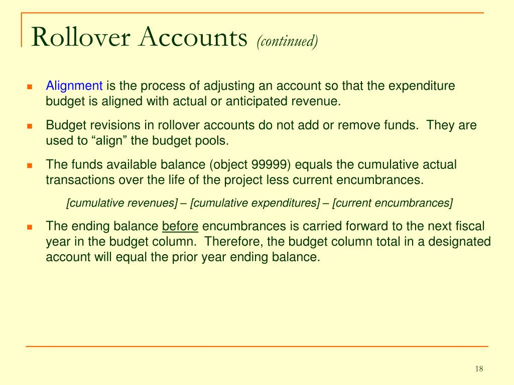 Rollover Accounts