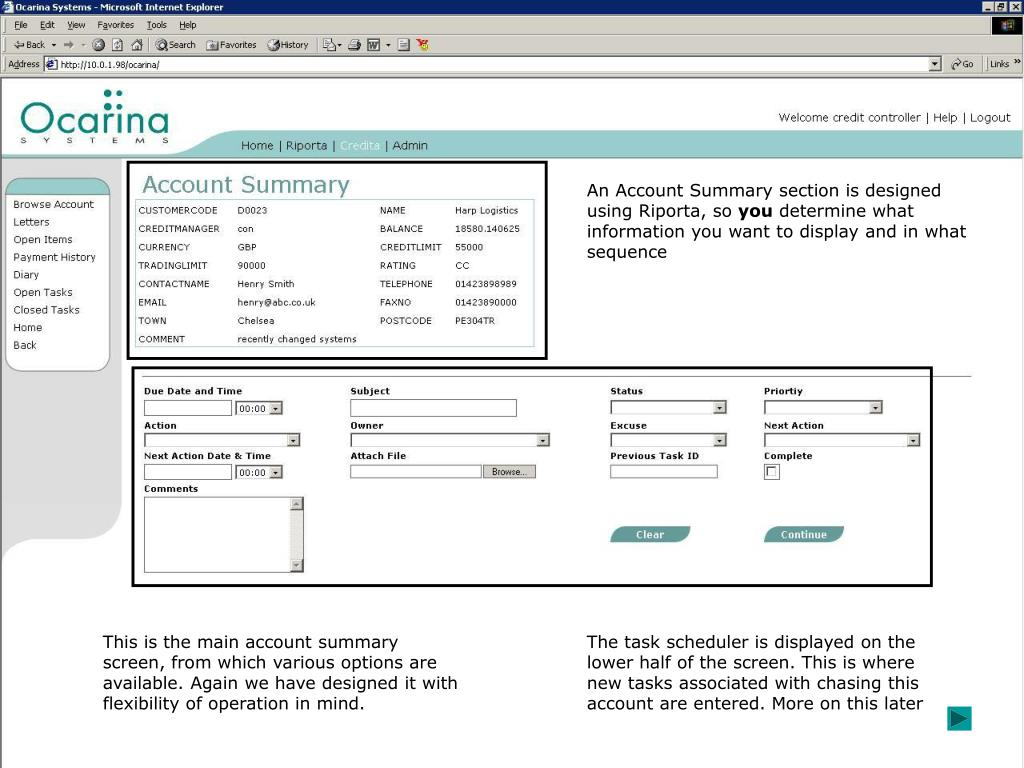 An Account Summary section is designed using Riporta, so