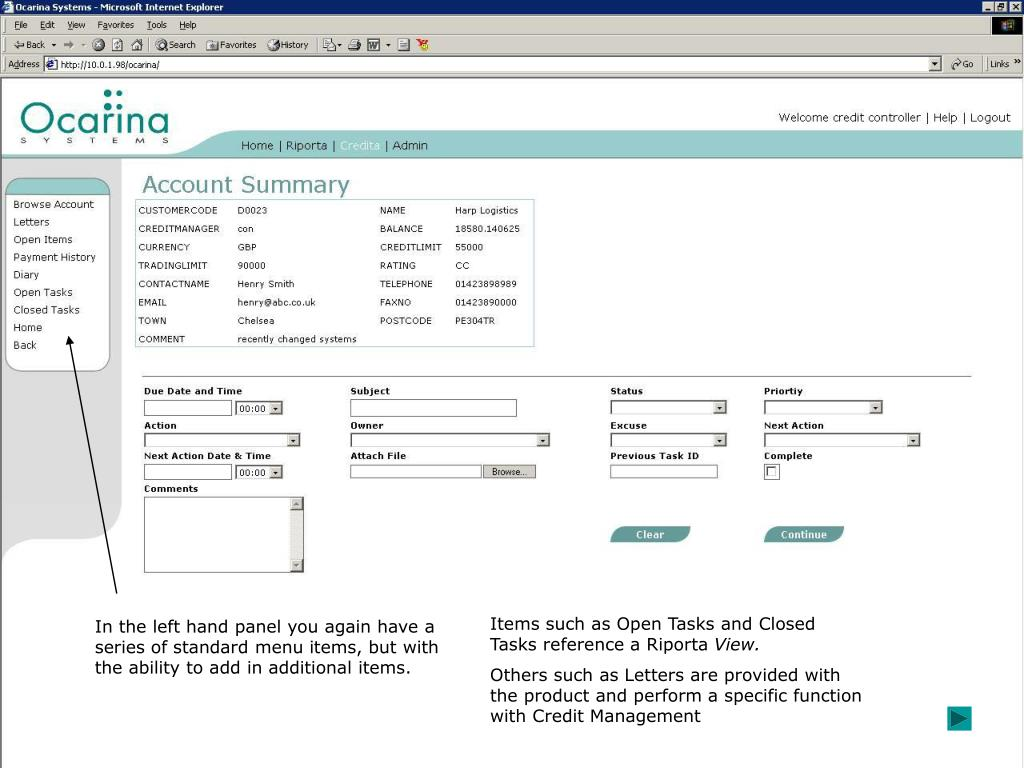 Items such as Open Tasks and Closed Tasks reference a Riporta