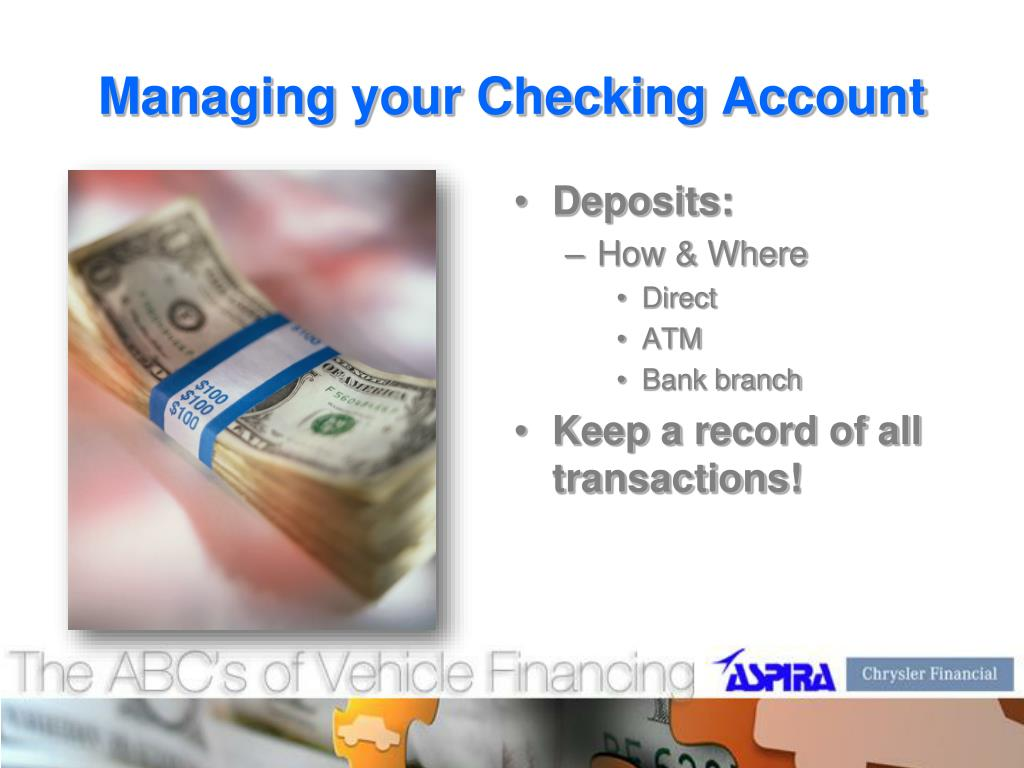 Managing your Checking Account