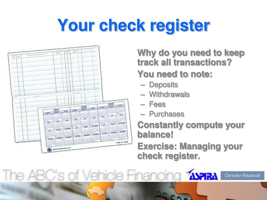 Your check register