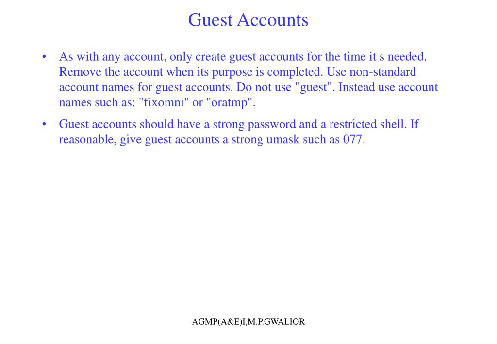 Guest Accounts