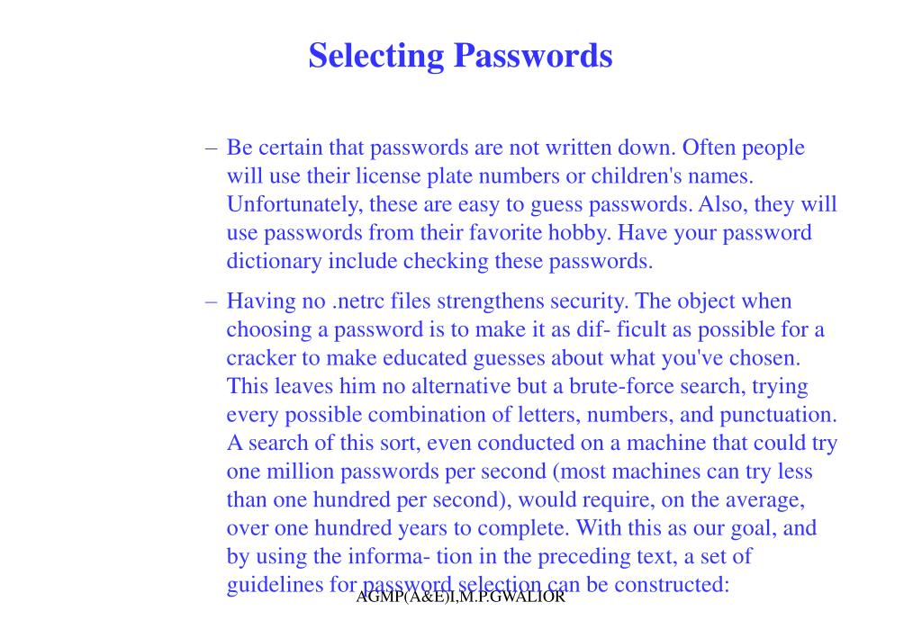 Selecting Passwords